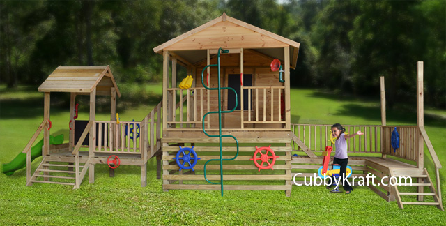 Play Zone, wooden playground equipment, cubby house fort, Play Zone Cubby Fort