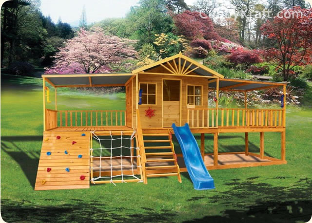 Sandlewood lodge cubby house kids playground equipment for Diy play structure