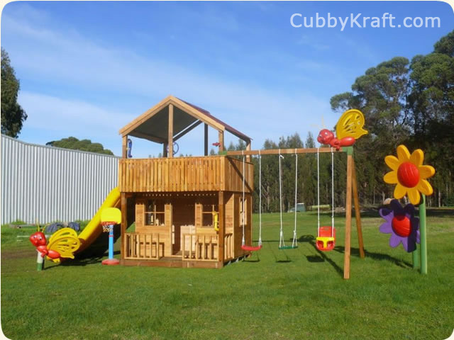 Skyfort, wooden playground equipment, cubby house fort, Skyfort Cubby Fort